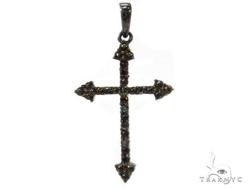 Prong Black Diamond Cross 37220 Silver