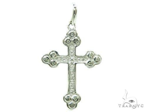 Prong Diamond Silver Cross 37221 Silver