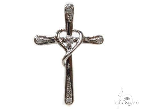 Prong Diamond Silver Cross 37227 Silver