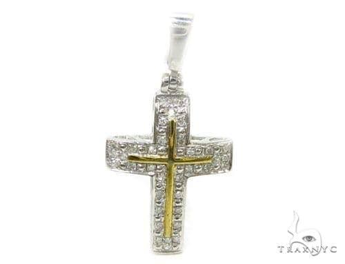 Prong Diamond Silver Cross 37231 Silver