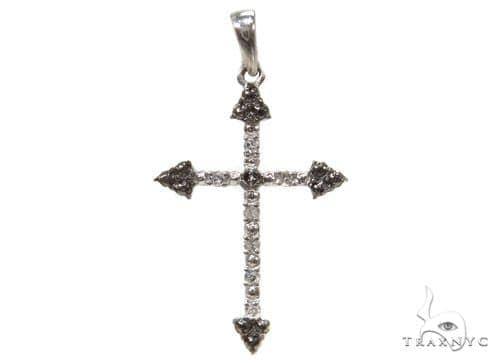Prong Diamond Silver Cross 37239 Silver