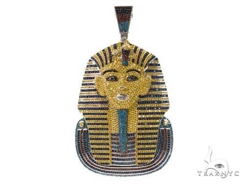 Custom Jewerly-CZ Silver Pharaoh Pendant 37254 Metal