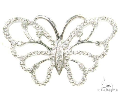 Prong Diamond Butterfly Silver Pendant 37332 Metal