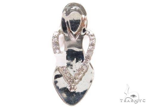Prong Diamond Shoe Silver Pendant 37335 Metal