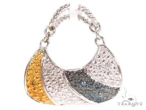 Prong Diamond Silver Handbag Pendant 37342 Metal