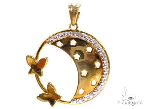 Prong Diamond Silver Pendant 37343 Metal
