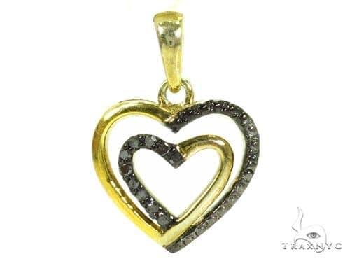 Prong Black Diamond Silver Heart Pendant 37351 Metal