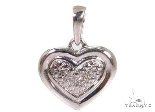 Prong Diamond Heart Silver Pendant 37352 Metal