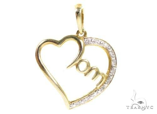 Prong Diamond Heart Silver Pendant 37355 Metal