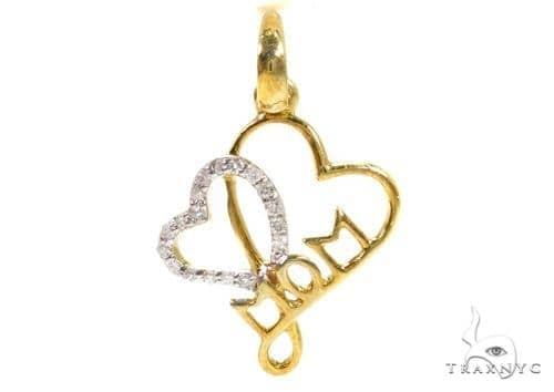 Prong Diamond Heart Silver Mom Pendant 37357 Metal