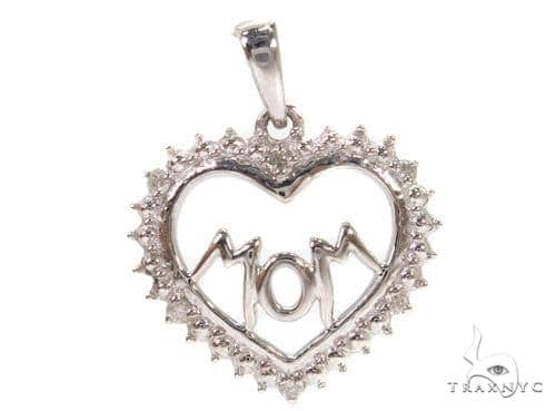Prong Diamond Heart Mom Silver Pendant 37358 Metal