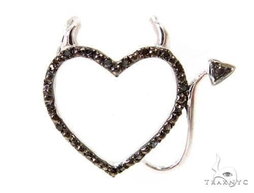 Prong Diamond Heart Silver Pendant 37363 Metal