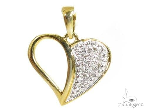 Prong Diamond Heart Silver Pendant 37367 Metal