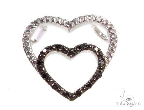 Prong Black Diamond Heart Silver Pendant 37370 Metal