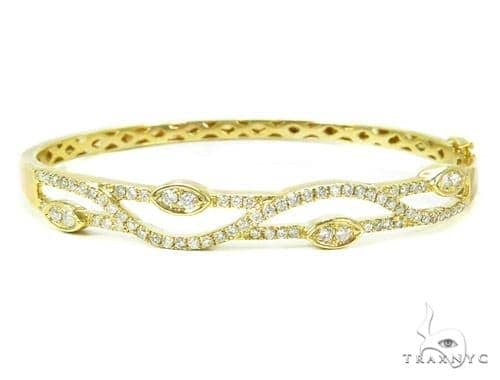 Yellow Gold Prong Bangle Diamond Bracelet 37383 Bangle