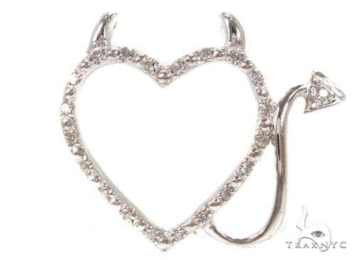 Prong Diamond Heart Silver Pendant 37412 Metal