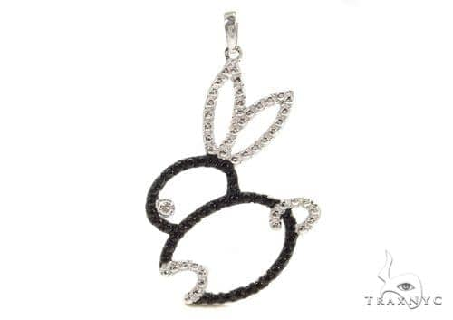 Bezel Diamond Rabbit Silver Pendant 37420 Metal