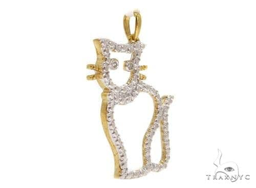 Bezel Diamond Cat Silver Pendant 37422 Metal