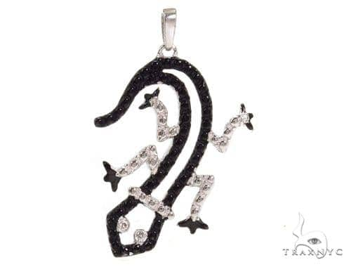Bezel Diamond Lizard Silver Pendant 37427 Metal