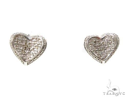 Prong Diamond Heart Silver Earrings 37604 Metal