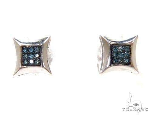 Prong Blue Diamond Silver Earrings 37689 Metal