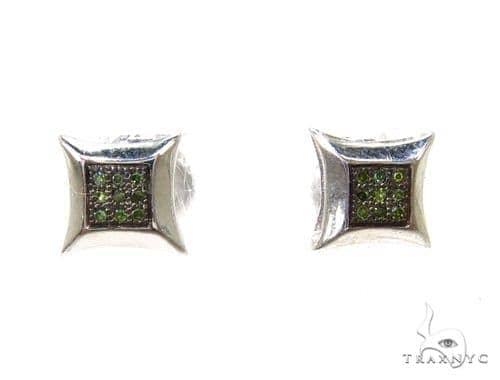 Prong Green Diamond Earrings 37693 Metal
