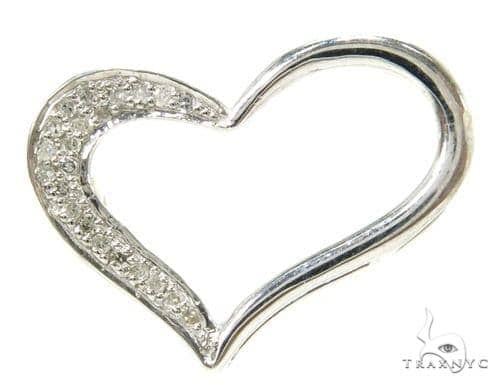 Prong Diamond Heart Silver Pendant 37848 Style