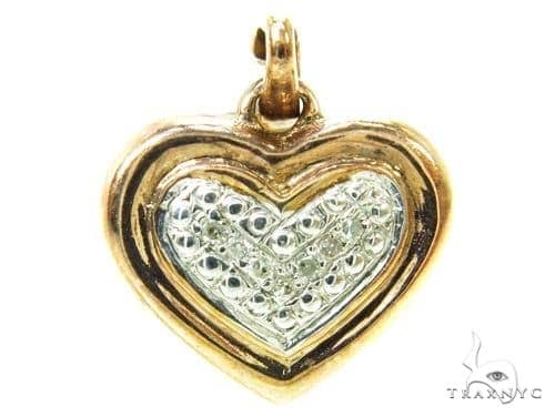 Prong Diamond Heart Silver Pendant 37851 Metal
