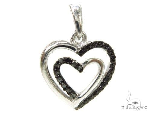 Prong Diamond Heart Silver Pendant 37852 Metal