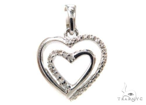 Prong Diamond Heart Silver Pendant 37853 Metal