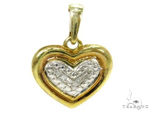 Prong Diamond Heart Silver Pendant 37856 Metal