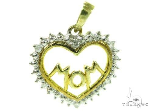 Prong Diamond Heart Mom Silver Pendant 37859 Metal
