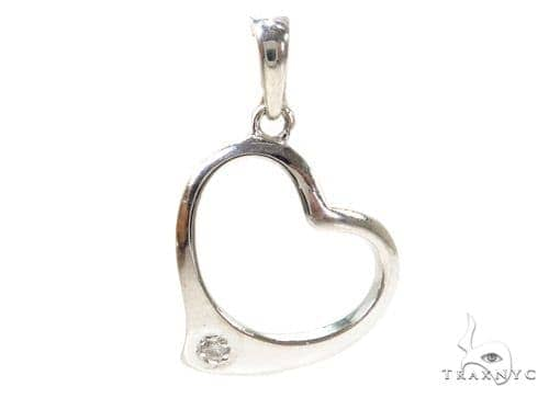 Prong Diamond Heart Silver Pendant 37860 Metal
