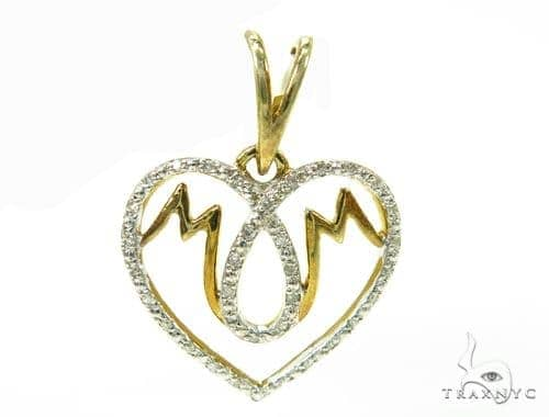 Prong Diamond Heart Mom Silver Pendant 37862 Metal