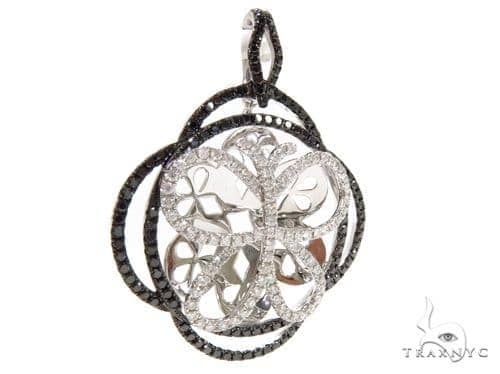 Prong Diamond Black and White Butterfly Pendant 38015 Stone