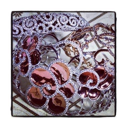 Prong Diamond Flower Bangle Bracelet 38003 Bangle