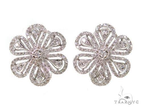 Prong Diamond Flower Earrings 38028 Stone