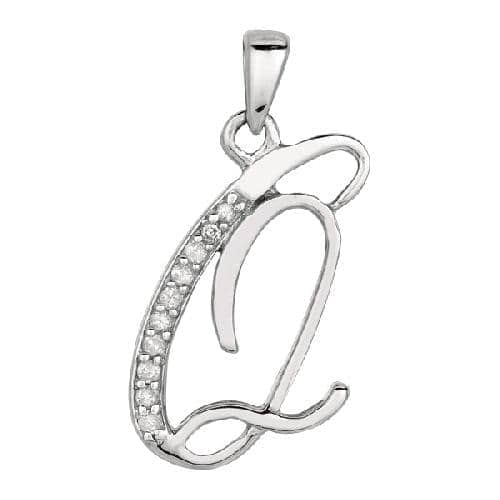 Silver Letter Q Diamond Fancy Initial Pendant Style