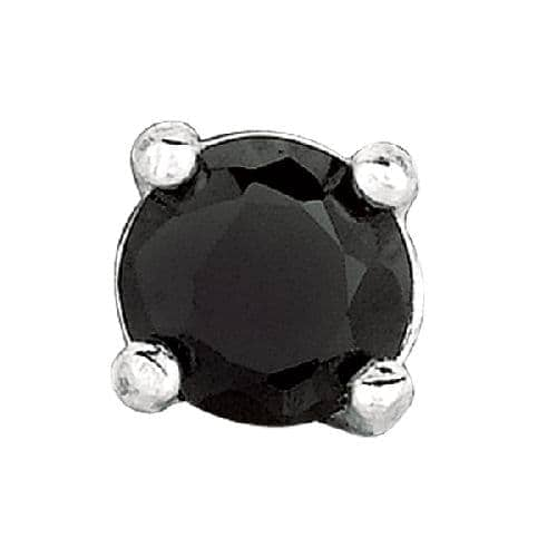 Silver Round Black Cubic Zirconia Stud Post back Earring Metal