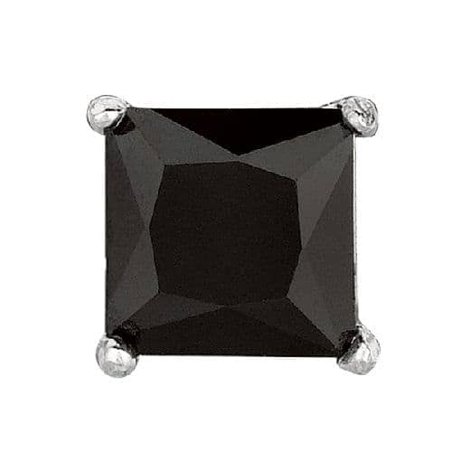 Silver Black Square Cubic Zirconia Stud  Post Back Earring Metal