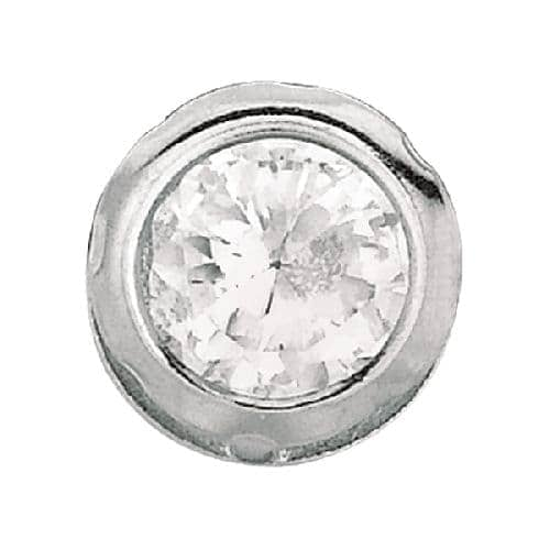 Silver Clear Round Faceted Cubic Zirconia Stud Earring Metal