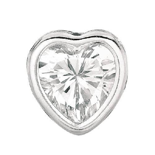 Silver Clear Heart Cubic Zirconia Stud Earring Metal