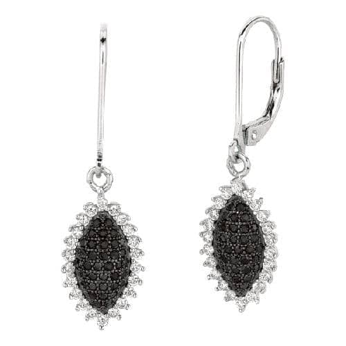 Silver Marquise Shape Drop Earring with Black and White Cubic Zirconia Metal