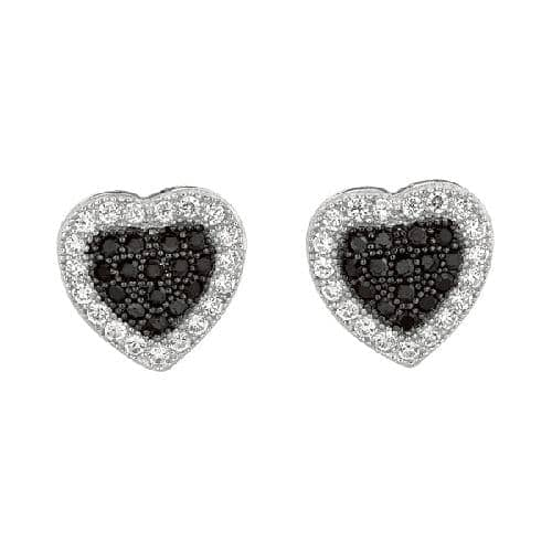 Silver Heart Post Earring with Black and White Cubic Zirconia Metal
