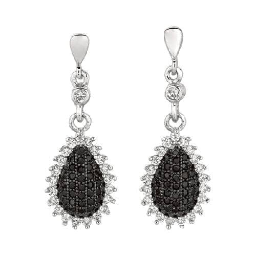 Silver Teardrop Shape Drop Earring with Black White Cubic Zirconia Metal