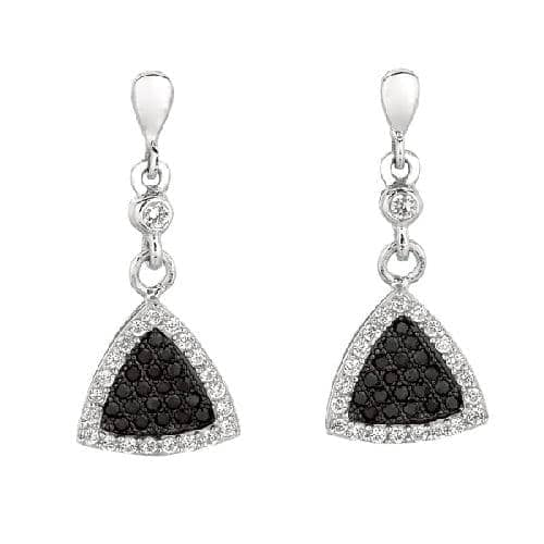 Silver 3-Point Triangle Shape Drop Earring with Black White Cubic Zirconia Metal