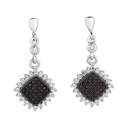 Silver Diamond Shape Drop Earring with Black White Cubic Zirconia Metal