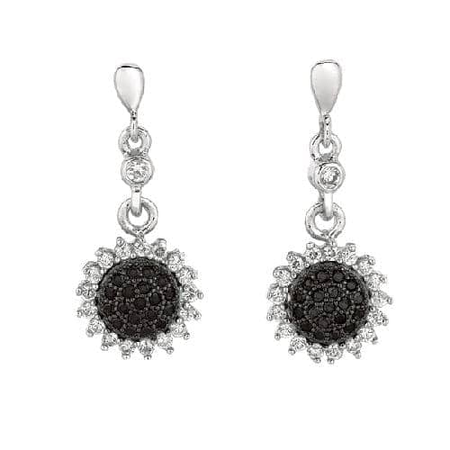 Silver Sun Flower Drop Earring with Black White Cubic Zirconia Metal