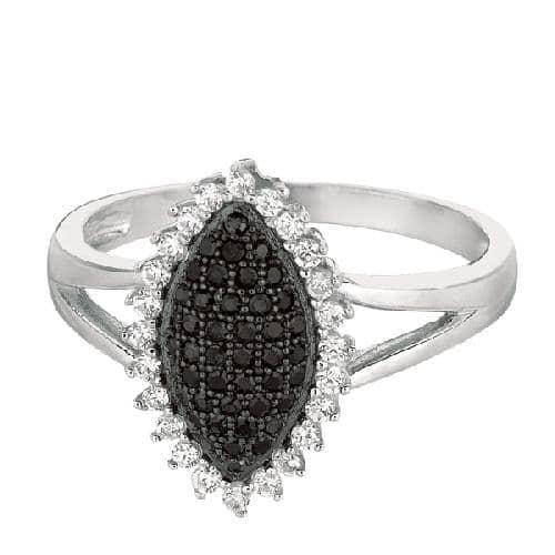 Silver Rhodium Finish Shiny Fancy Marquise Shape Top Size 6 Ring Anniversary/Fashion
