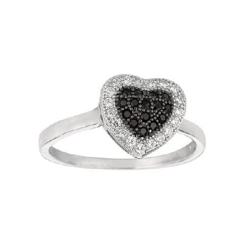 Silver Rhodium Finish Shiny Heart Shape Top Size 6 Ring Anniversary/Fashion